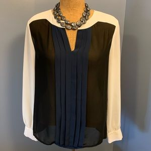Ann Taylor Black Navy Cream Sheer Blouse Pleats M